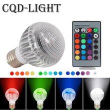 E27 GU10 E14 RGB Dimmable LED Light 85-265V 110V 220V multiple Color Bulb Lamps 15W + 24key IR Remote Control lighting