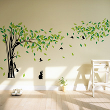* Large size  Green forest Tree rabbit squirrel birds TV sofa wall sticker bedroom living room glass door home decor art poster