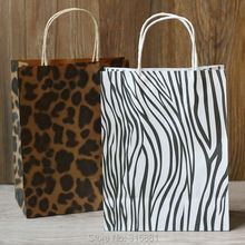 Gift Bags with Handles,zebra and leopard printed paper bag 27X21X11cm 10pcs/lot