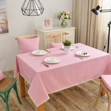 Pink Plaid 100% Cotton Tablecloth Beautiful Laces Rectangle Table Cover Washable Decoration Design for Dining Room