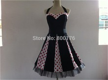 Free Shipping 2013 New Fashion Women 50s 60s Swing Polka dot Dress Pinup Vintage Rockabilly Retro dress(China)