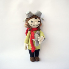Crochet airman baby Toy doll handmade rattle(China)