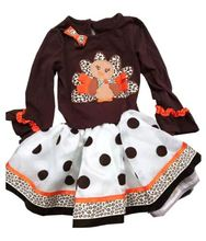 2017 New Little Girls Dress Thanksgiving Turkey Brown Polka Dot Tutu Cake Dress(China)