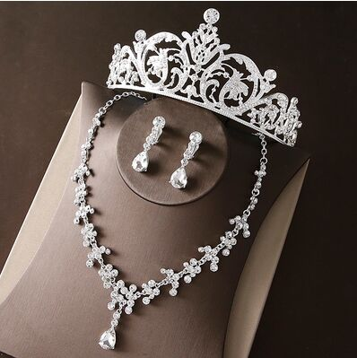 2017 New Silver Crystal Necklace Earrings for Women Wedding Jewelry Sets Whit K Plated Bridal Jewelry Sets With Tiaras & Crowns (11)