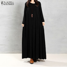 ZANZEA 2017 Autumn Women Vintage Maxi Long Dress Long Sleeve Pockets Casual Loose Solid Cotton Dresses Plus Size Vestidos