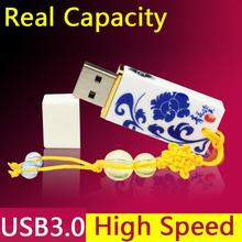 Usb 128GB Blue&White Porcelain Fashion Ceramic Usb 3.0 Flash Drive Gift Pendrive 1TB 2TB Pen Drive 16GB 32GB 64GB Memory Stick(China)