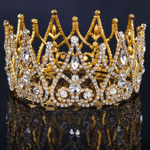 2017 New Luxury Royal Bridal Tiaras Gold Color Metal Clear Rhinestone Crystal Bridal Crown Wedding Hair Accessories Big crown(China)