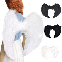 Adults Kids Black/White Feather Fairy Angel Wings Hen Night Fancy Dress Up Costume Halloween Festive Party Supplies