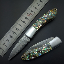 Damascus knives Outdoor folding knife Camping Survival Pocket Knife Outdoor Tools colorful Shell Steel Handle Drop free shipping