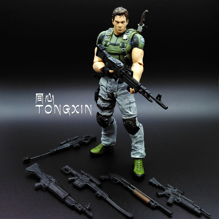 Limited! 18cm  High Classic Toy Resident Evil 5   chris   with Rich accessories   action figure Toys<br><br>Aliexpress