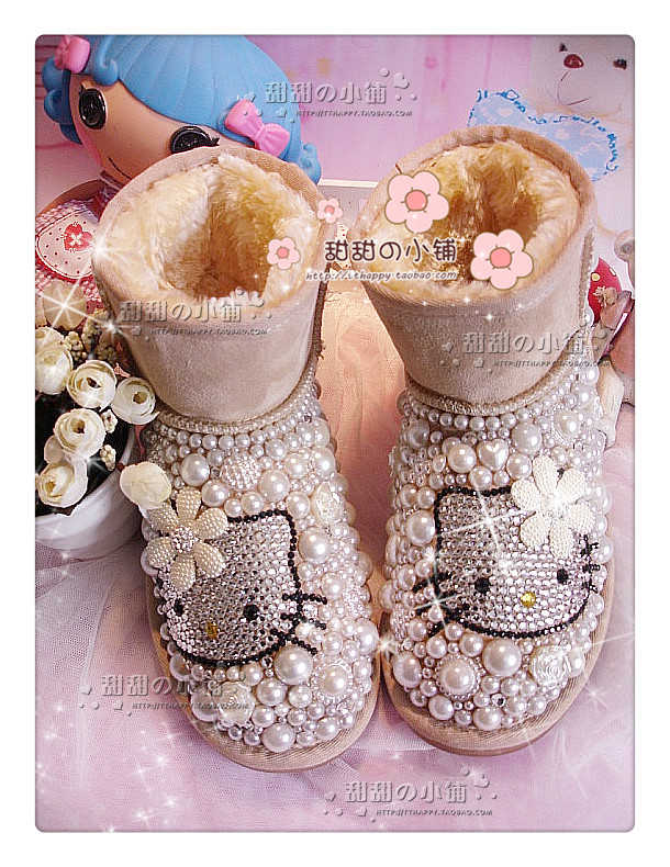 2015 Women Genuine Leather Boots Hello Kitty Rhinestone Pink Pearl Snow Boots Large Size Women Winter Shoes 42 43<br><br>Aliexpress