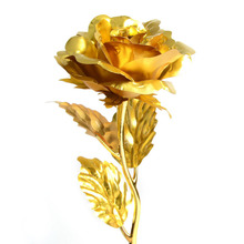 24k Gold Foil Plated Rose Wedding Propose Brithday Party Decoration Golden Rose Gold flore artificial flower Dipped Rose(China)