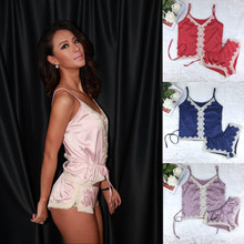 Big Brand NX Luxury Imitation Satin Women Short Pajama Set Sexy Lace Pajamas Suit Silk Thin Hot Women Night Wear Clothes 5 color