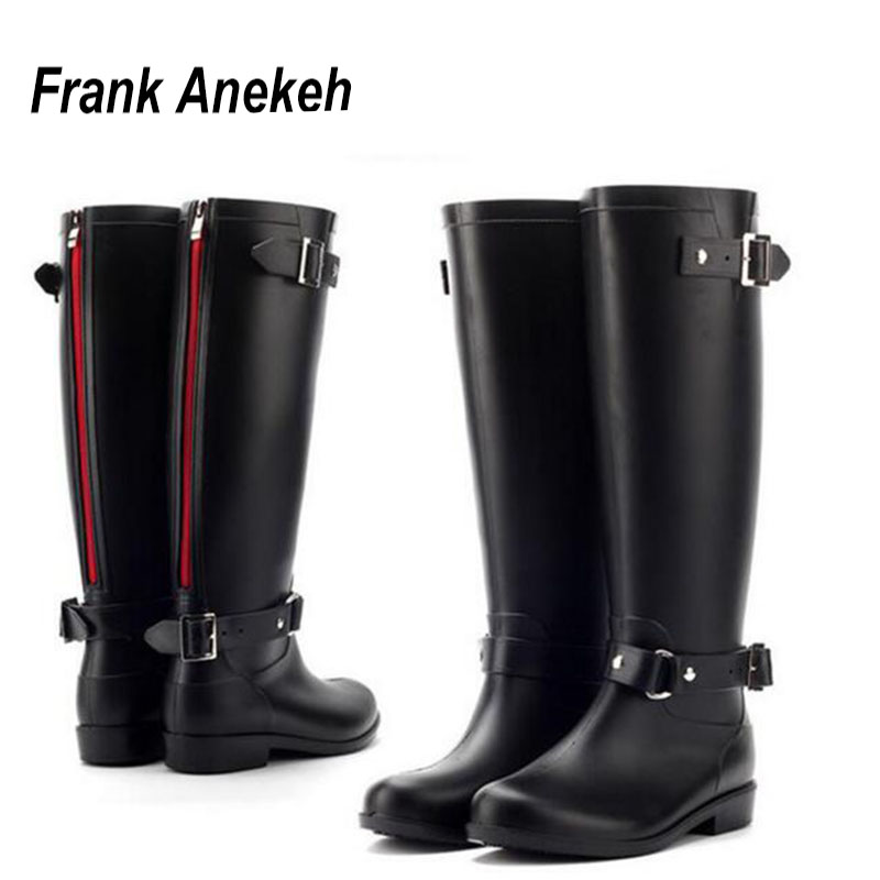 PVC Women Rain Boots Girls Ladies Rubber Shoes For Casual Walking Hunting Hunter Outdoor Mid-calf Waterproof Female Low Heels(China)
