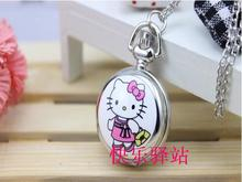 New Hello Kitty Cartoon Children Pocket Watch Fashion delicate Pendants Girl necklace Pocket Watch Quartz necklace pocket watch
