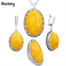 Simulated Oval Beeswax Jewelry Set Necklace Earrings Rings Hollow Flower Antique Silver Plated Pendant Stainless Steel Chain