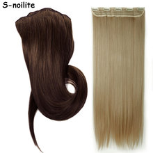 "Lady Women 145g 23"" Straight Clip in Hair Extension black brown blonde 5 Clips ins Hair Extensions One Piece(China)"