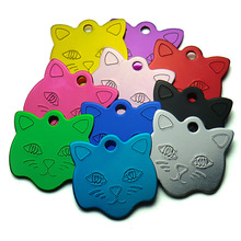 Wholesale 100Pcs Cat Face Shape Personalized Dog ID Tags Pet Name Tag Custom Engraved Dog Cat Personalized Name Phone NO. ID Tag