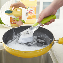 Kitchen Wash Tools Dish Pot Cleaner Brush with Washing Up Liquid Soap Dispenser Green Useful Home Supplies