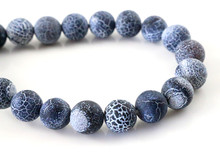4mm 6mm 8mm Natural Volcanic Stone Navy white Stone Round beads For jewelry making Wholesale and Retail(China)