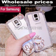 Swan Hello Kitty Diamond Rhinestone Frame case cover For Samsung Galaxy A3 A5 A7 A8 A9 2015 2016 2017 2018 E5 E7 On5 On7(China)