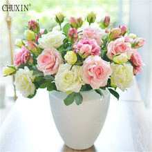 5pcs/lot Vivid Real Touch Rose Colourful High Quality Artificial Silk Flower For Wedding Party Decoration 2 heads/bouquet(China)