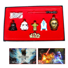 6Pcs/set Star Wars figures toys Darth Vader Master Yoda Robot R2d2 Lightsaber model keychain pendant necklace with retail box