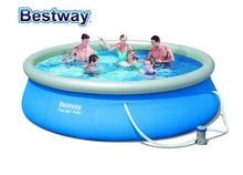 "57321 Bestway 396x84cm Round FAST SET POOL With Water Cleaner DRAIN Valve 13'x33"" Top-ring Inflate Pool EASY TO ASSEMBLE(China)"