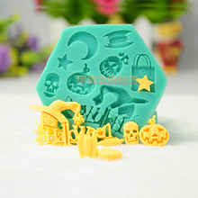 1pcs patisserie reposteria Halloween Skull Ghost Witch Silicone Lace Mold Pastry Shop Fondant Cake Decoration Tools Cupcake DIY(China)