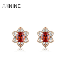 AENINE Exquisite Red AAA Cubic Zirconia Earrings Luxury Rose Gold Color Flowers Pearl Six Flowers Earrings Female L2020664075