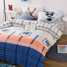 Boy/Adult Blue Orange Plaid Bedding Sets 100% Cotton Bed Sheet Duvet Cover Comforter 4/5pc Full/Queen Sizes 400TC Bedspread Deer(China)