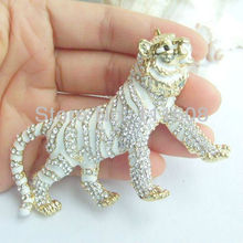 "3.54"" Unique Tiger Brooch Pin w Clear Rhinestone crystals EE04760C2"