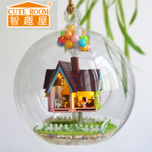 CUTE ROOM Glass Ball DIY Doll House Wooden Miniatura Toys Flying House With Furniture LED Lights Birthday Gift B-006(China)