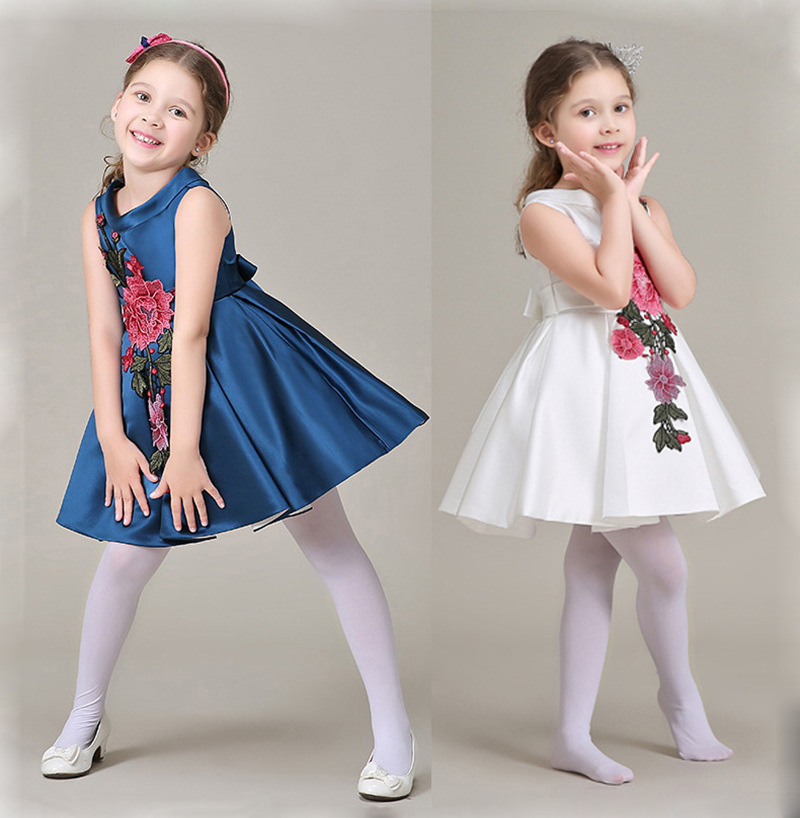 Summer Clothes Girls Dresses Brand Kids Clothes Printing Pleated Bow TuTu Party Dress for Girls Stylish Satin Princess Dress<br><br>Aliexpress