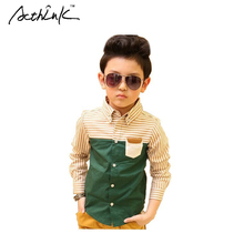 ActhInK New Kids Striped Dress Shirts for Boys Fashion Cotton Patchwork Wedding Clothes Boys Formal Dress Shirts Boys Tops, C112(China)