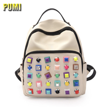 Women Backpack Fashion Colors Rivet Design Preppy Style School Backpack for Teenager Girl Hot Female Nylon Shoulder Shopping Bag