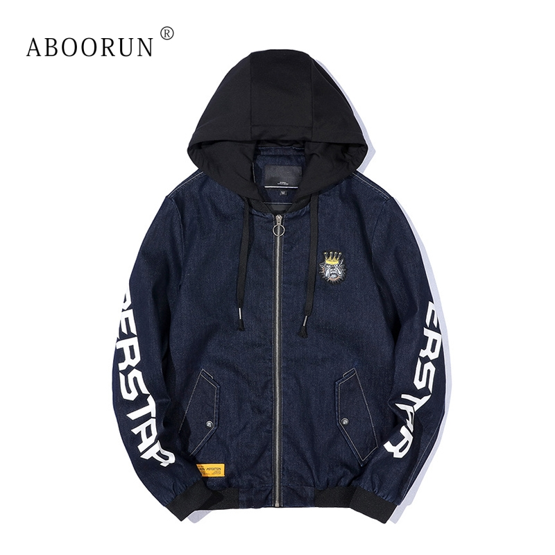 ABOORUN Men's Fashion Denim Jacket Letters Printed Hooded Jacket Spring Autumn Coat for Male x2391