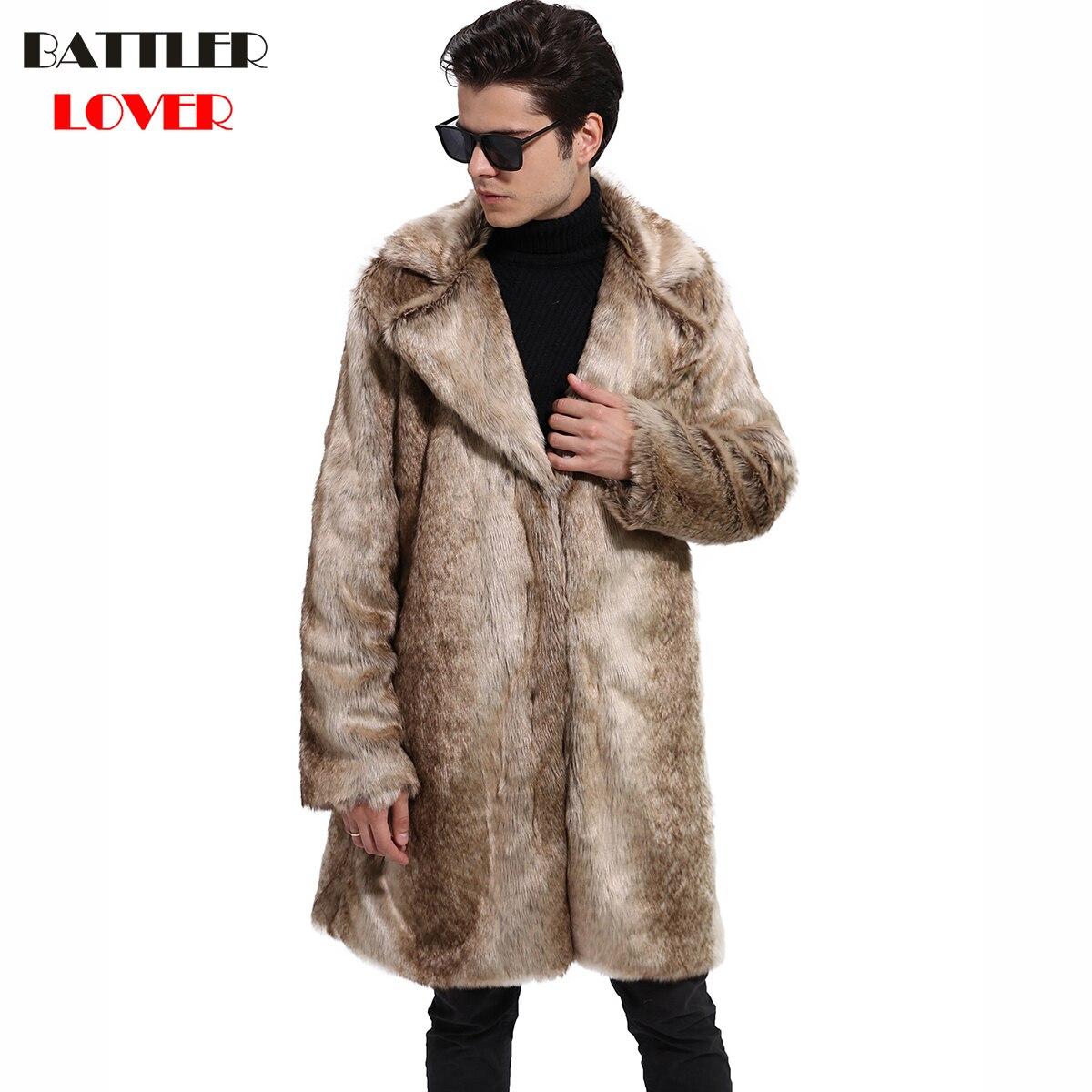2018 Men Fur Coat Winter Warm Outwear Coats Faux Fur Men Punk Parkas Jackets Hombre Leather Overcoats Genuine Fur Brand Clothing