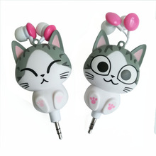 Cat cartoon earphone automatic retractable earphones for mobile phone cartoon Headsets in ear with MIC For Iphone Samsung