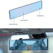 Universal Fit Rearview Mirror Wide Anti-Glare Blue Tint Curve Convex Clip On Wide Angle Interior Mirror For Car SUV Van Truck