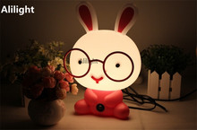 Cute Night Light Baby Room Wearing Glasses Rabbit Cartoon Night Lamp Kids Bedside Lamp Sleeping Light for Gifts EU/US Fixtures
