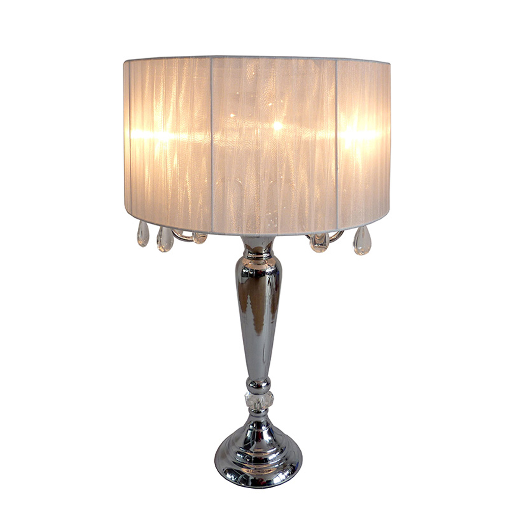 Elegant Designs Trendy Romantic Sheer Shade Table Lamp with Hanging Crystals (2)