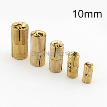 4pcs 10mm Brass Barrel Hinge Cylindrical Hidden Cabinet Hinges Concealed Invisible Mortise Mount Hinge(China)