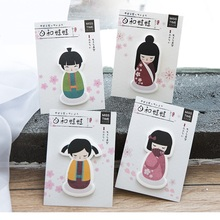 4 pcs/Lot Japanese Doll paper sticky note Kawaii dolly girl memo pad Scrapbook sticker for planner office School supplies CM491(China)