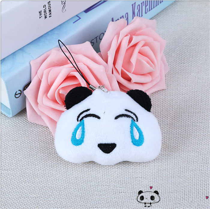 Fashion Panda Emoji Plush Toys Key Chain Ring Pom Bear Keychain Woman Bag Charms Man Car Keyring Wedding Party Trinket Jewelry (5)