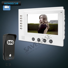 "HOMSECUR 7"" Hands-free Video&Audio Home Intercom+Black Camera for House/Flat(China)"