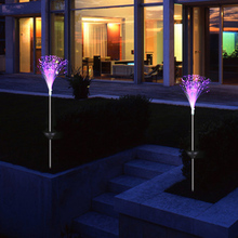 2Pcs Wholesale Outdoor Novelty Solar Optical Fiber Light with Solar Pannel Color Changing LED Lawn Night Lamp for Garden Decor(China)