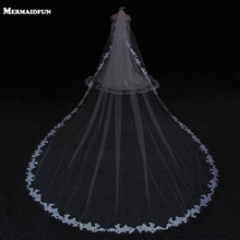 2017 White Ivory/White Tulle 5m Long One Layer Applique Edge Wedding Veil New Fashion Wedding accessories Hot Bridal Veils