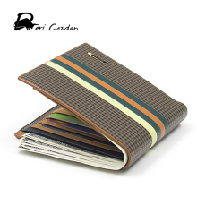 DERI CUZDAN Designer Famous Men's Wallets Italian Leather Striped Large Capacity Wallet Men Fold Money Purse Clip Portfolio Men(China)