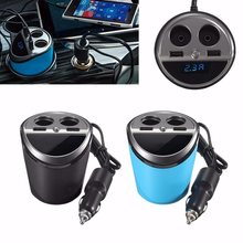 12-24V Output USB Charger Socket Car Cigarette Lighter Dual Cup Holder Adapter Power with LED Display(China)